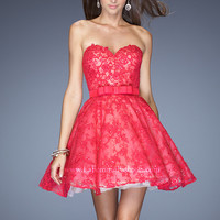 La Femme 20398 - Hot Fuchsia Strapless Beaded Short Prom Dresses Online
