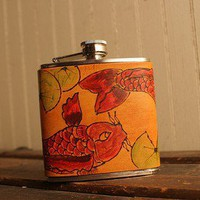 Old Koi Flask - Leather in Red, Burgundy, Lime Green and Antique Tan | moxieandoliver - Accessories on ArtFire
