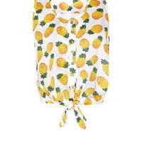 Brave Soul White Pineapple Print Tie Front Top