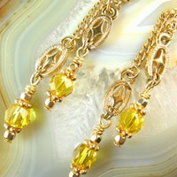 Citrine Faceted Crystal and Gold Dangle Earrings | dianesdangles - Jewelry on ArtFire