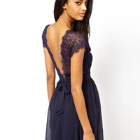 Elise Ryan Lace Skater Dress with Scallop Back at asos.com
