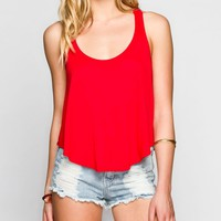 Full Tilt Crochet Racerback Womens Swing Tank Red  In Sizes