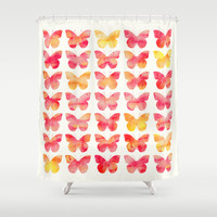 Butterflies Watercolor 1 Shower Curtain by Jacqueline Maldonado