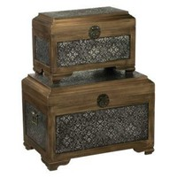 Antique Silver & Wood Trunk - Set of 2