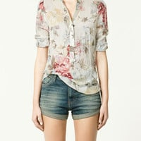 PRINTED VOILE BLOUSE - Shirts - Collection - Woman - ZARA United States