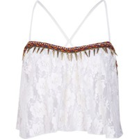 Cream lace embellished trim crop top - tops - sale - women