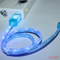 1M 3FT LED Light Indicator Lightning 8 Pin USB Sync Charger Cable Cord for iPhone 5 5C 5S iPad Mini (Blue)