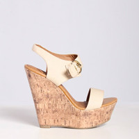 Wooden Wedge Sandal in Beige