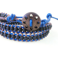 WrapLet Unisex Black with Blue Leather beaded by StarBurstJewels