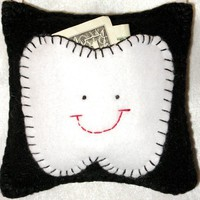 Tooth Fairy Pillow Black and White by LaughRabbitJr on Etsy