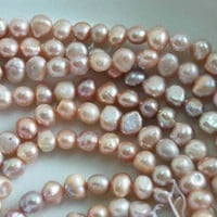 1 Strand Natural Genuine Light Purple Fresh Water Pearls Over 65pieces - Other