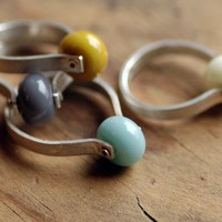 Sterling Silver Ring and Handmade Glass Bead Orb by lumafina