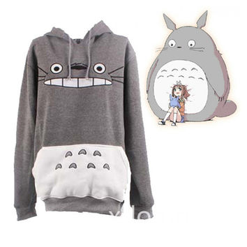 Totoro Hoodie My Neighbor Totoro Big Face Hoodie Tee Sweatshirt for Teens Adult Unisex Top Jumper Jacket Cosplay