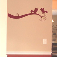 Two Birds on a Fancy Scrolled Branch wall decal on chuckebyrdwallart.com