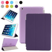 Besdata Ultra Thin Magnetic Smart Cover & Clear Back Case for Apple iPad Mini with Retina Display (2nd Gen) + Screen Protector + Stylus + Cleaning Cloth, Purple - PT3105