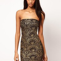 Strapless Dress In Glitter Print at ASOS