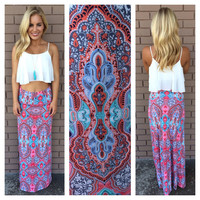 Aqua & Pink Paisley Roll Down Maxi Skirt