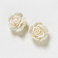 White Aqua or Black Rose Earrings by allthingswildandfree on Etsy