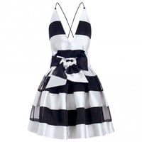 Ringmaster Stripe Plunge Dress - Ready To Wear - The Latest