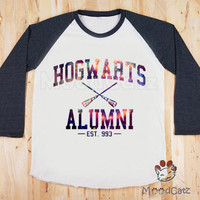 S, M, L - Galaxy Hogwarts Alumni T-Shirt Galaxy T-Shirt Harry Potter T-Shirt Women T-Shirt Unisex T-Shirt Raglan Long Sleeve Baseball Shirt