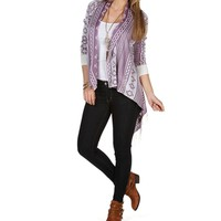 SALE-IvoryPurple Tribal Print Cardigan