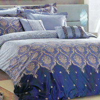 Custom Queen or Full Size Blue, Navy Blue, Beige Damask Pattern Satin Bedding Set, 6 pieces