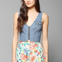 BDG Zip-Front Denim Tank Top - Urban Outfitters