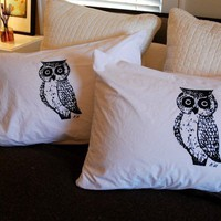 $18.00 Owl Screen Printed Pillowcase Pair Black on by branchhandmade
