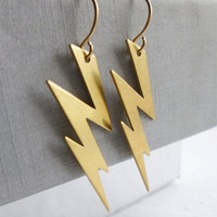 Lightening Bolt Earrings by Aqsa on Etsy