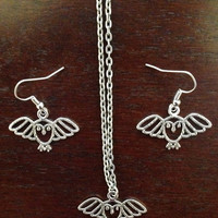 Owl Necklace and Earrings Set
