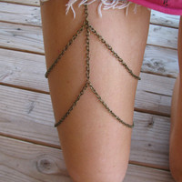 Antique dirty bronze gold leg chain thigh by houseofmarissanicole