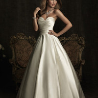 Ivory Ruched Satin back Taffeta Strapless A Line Wedding Gown - Unique Vintage - Cocktail, Evening, Pinup Dresses