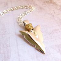 Silver Gold Arrow Necklace Silver Arrowhead Necklace Vintage Arrow Pendant