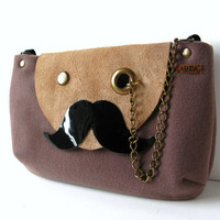 Mr Mustache with Monocle Taupe Cross Body / Shoulder by askidas
