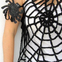 Gothic Dress Black Spider Web Top Transformer by GiftsPoint
