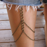 Chunky antique BRONZE leg chain thigh by houseofmarissanicole