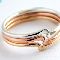 Set of 3 Twister Stacking Rings - 14K Gold-filled ring / dainty ring / simple ring / gold ring / sterling silver ring/ ring set