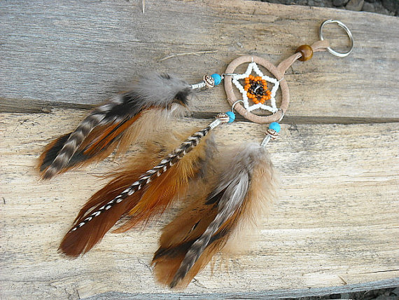 Dream Catcher Feather Keychain Dream Catcher by InkandRoses13