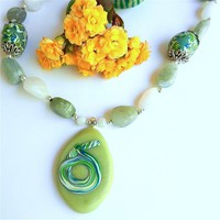 Hand Sculpted Mosaic Bead Necklace, Faux Jade Pendant, Jade Agate Gems | craftsofthepast - Jewelry on ArtFire