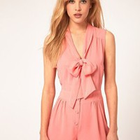 ASOS | ASOS Sleveless Playsuit with Pussybow at ASOS