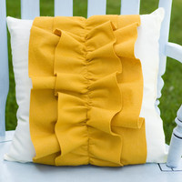 Decorative Mustard Yellow Wool Felt Ruffle by lollipoppillows