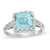 8.0mm Princess-Cut Lab-Created Aquamarine and White Topaz Crown Ring in Sterling Silver - View All Rings - Zales