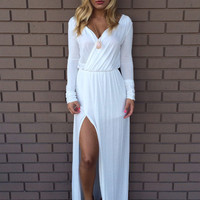 White Del Rio Long Sleeve Maxi Dress
