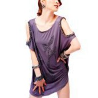 Allegra K Heels Stud Front Cut out Shoulder Short Sleeve Purple Shirt S for Women