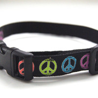 Rainbow Peace Sign Dog Collar Adjustable Sizes (XS, S, M)