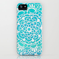 Aqua Turquoise Sparkle Doodle Pattern iPhone & iPod Case by Tangerine-Tane