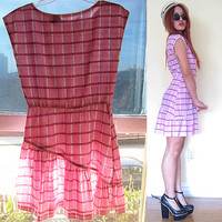 Vintage 60's 70's plaid scotch school girl bias ruffle baby pink pastel preppy boat neck lolita mini housewife day dress
