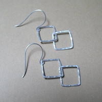 Geometric Square Earrings  Sterling Silver   Fine by ZorroPlateado