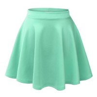 Made By Johnny Women's Basic Versatile Strechy Flared Skater Skirt