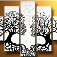 Santin Art - 100% Hand-painted Free Shipping Wood Framed Wind Floating Tree Home Decoration Landscape Framed Oil Painting on Canvas 5pcs/set Mixorde
